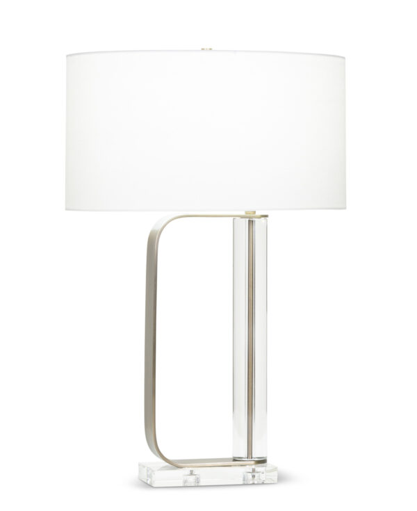 FlowDecor Abby Table Lamp in crystal and metal with antique brass finish and off-white linen oval shade (# 4095)