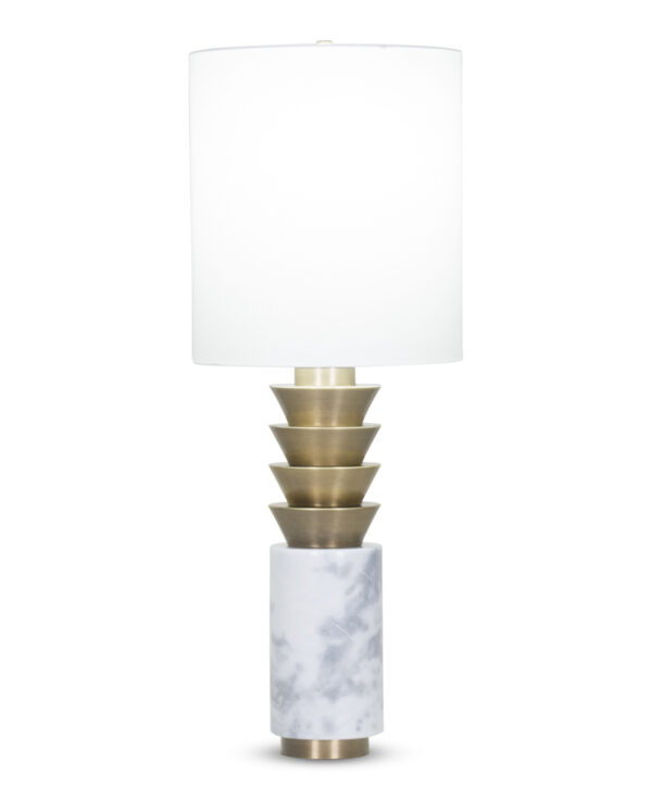 FlowDecor Abigail Table Lamp in white marble and metal with antique brass finish and off-white cotton drum shade (# 3963)