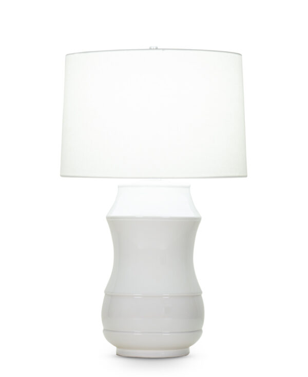 FlowDecor Adderley Table Lamp in ceramic with off-white finish and off-white linen tapered drum shade (# 4073)