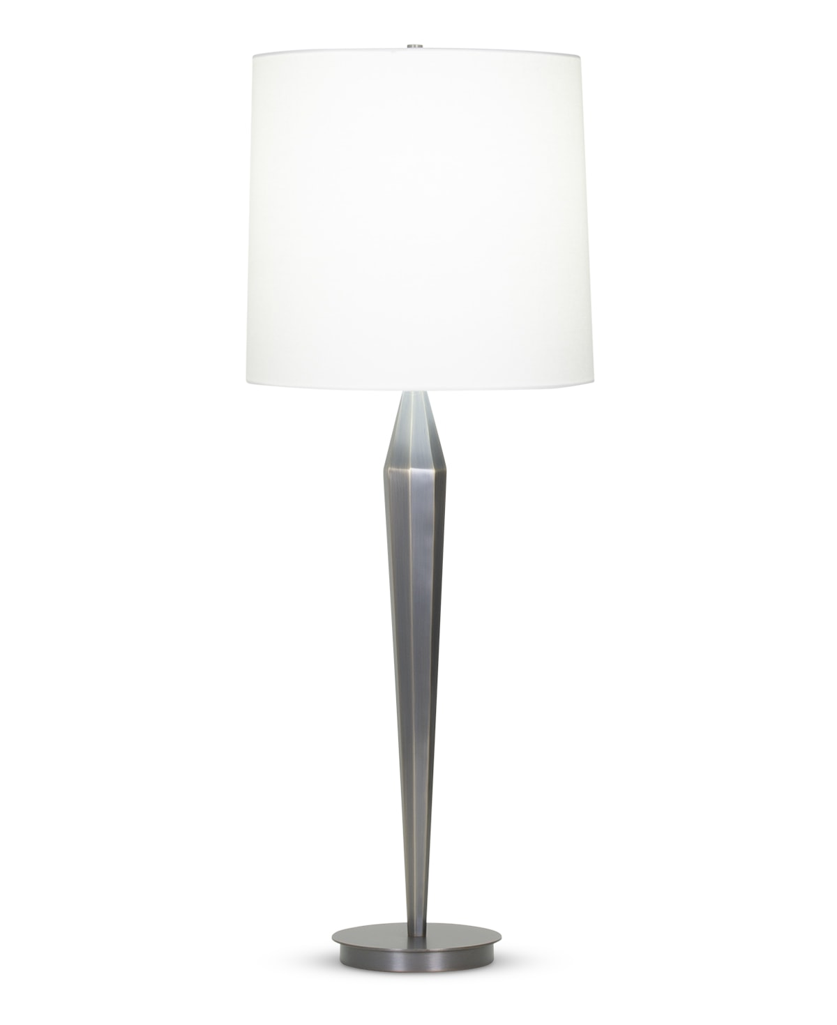 FlowDecor Aiden Table Lamp in metal with bronze finish and off-white linen tapered drum shade (# 4090)