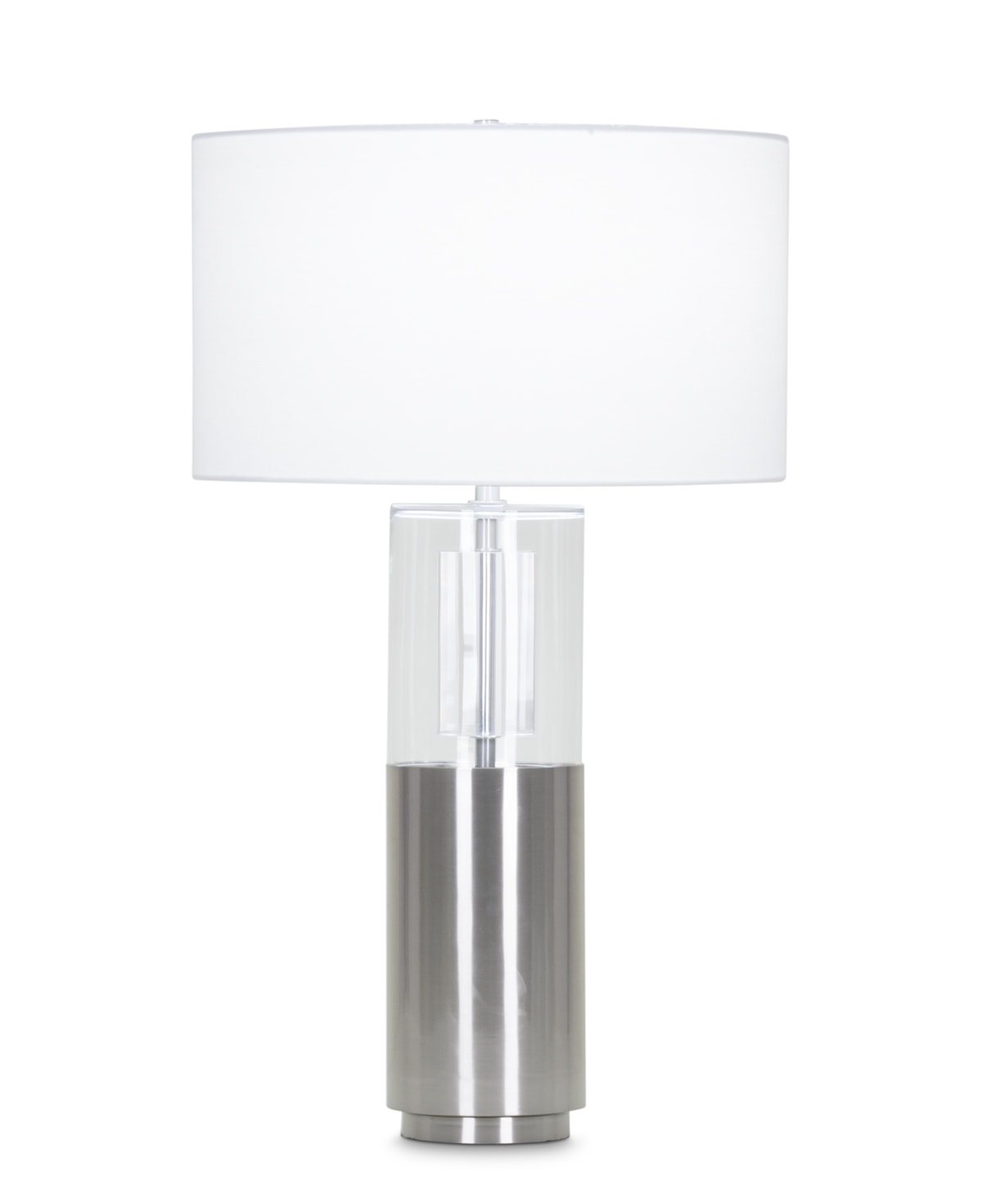 FlowDecor Alexander Table Lamp in metal with brushed nickel finish and glass and white linen drum shade (# 3961)