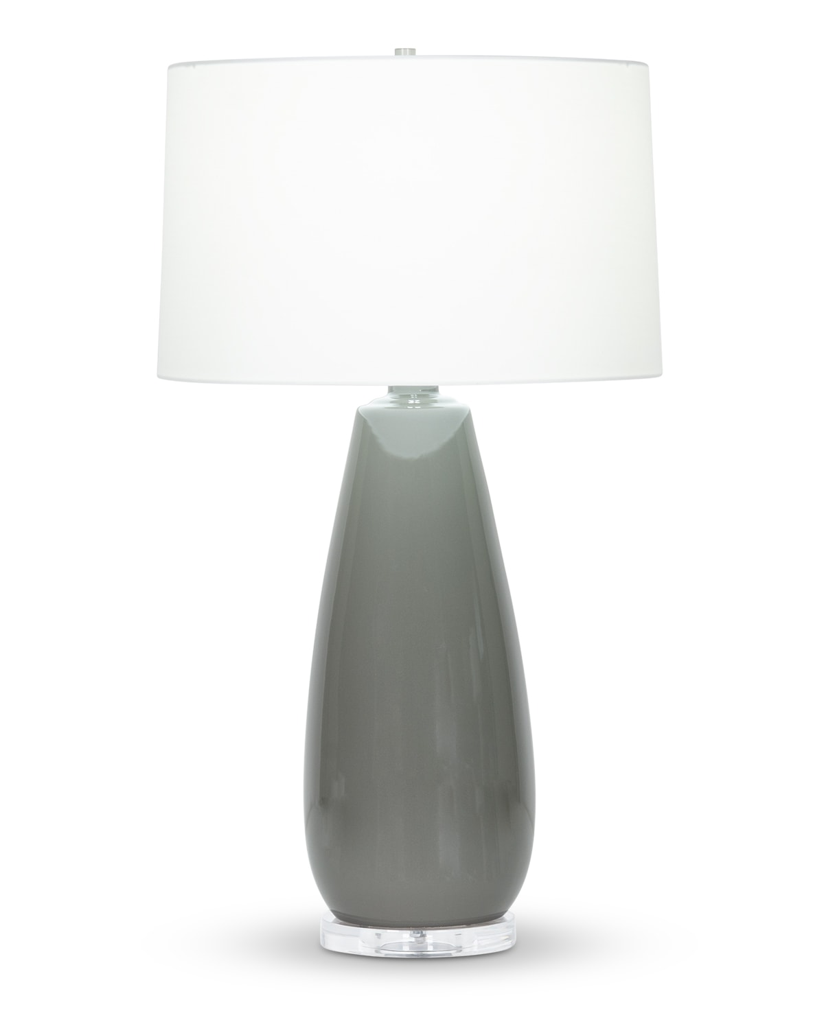 FlowDecor Aniston Table Lamp in ceramic with charcoal grey finish and off-white cotton tapered drum shade (# 4431)