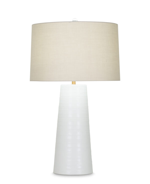 FlowDecor Annabelle Table Lamp in mouth-blown glass with white carved finish and beige cotton tapered drum shade (# 4010)