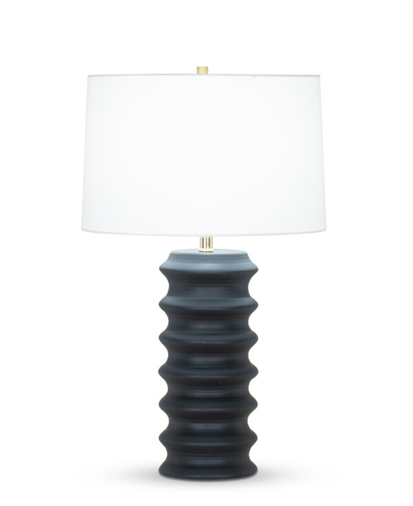 FlowDecor Antonio Table Lamp in ceramic with black matte finish and off-white cotton tapered drum shade (# 4395)