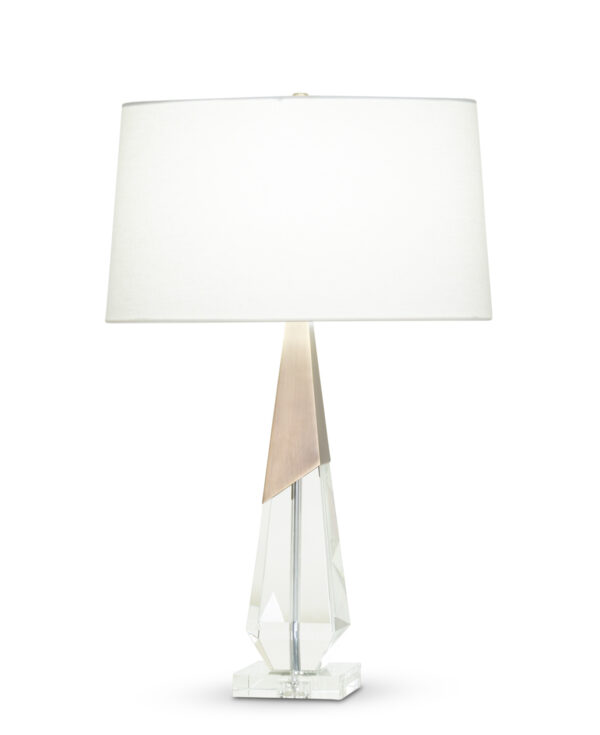 FlowDecor April Table Lamp in crystal and metal with antique brass finish and off-white linen oval shade (# 4367)