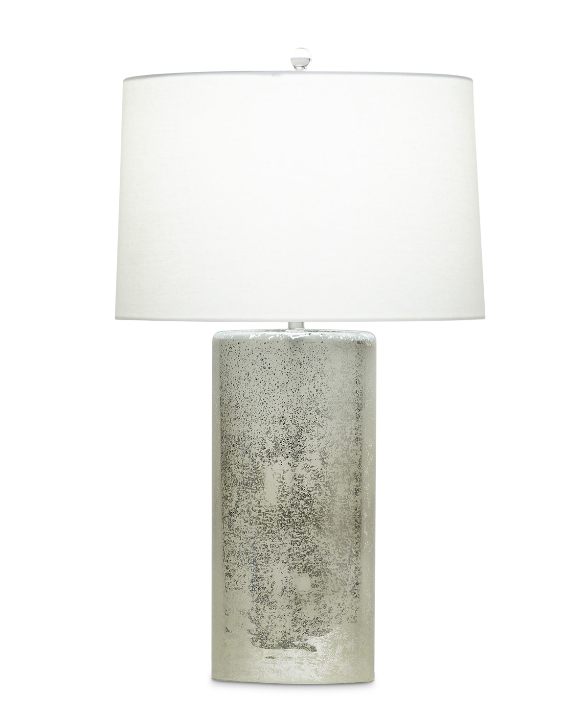 FlowDecor Aquarius Table Lamp in mouth-blown glass with silver rain finish and off-white linen tapered drum shade (# 3556)