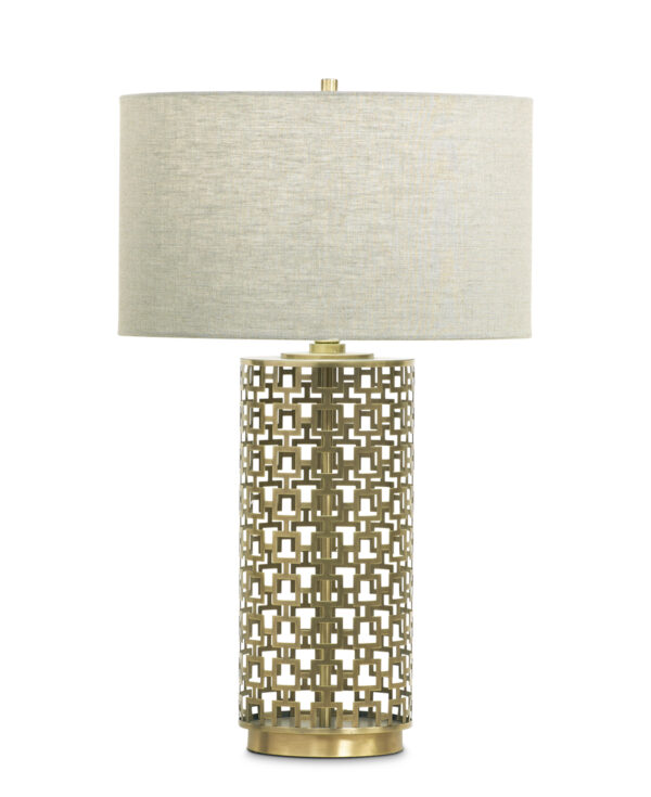 FlowDecor Aspen Table Lamp in metal with antique brass finish and beige linen drum shade (# 3643)