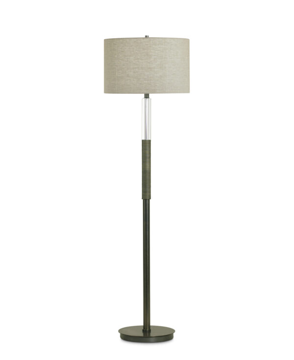 FlowDecor Atlantic Floor Lamp in resin with bronze finish and ribbed surface and crystal and metal with bronze finish and beige linen drum shade (# 3642)