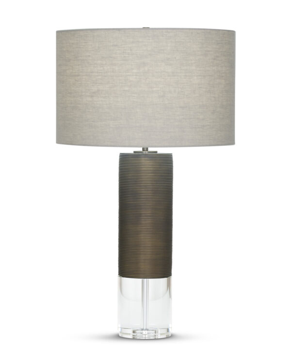 FlowDecor Atlantic Table Lamp in resin with bronze finish and finely ribbed surface and crystal and beige linen drum shade (# 3599)
