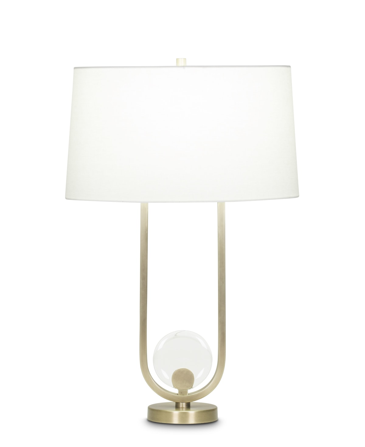 FlowDecor Atwood Table Lamp in metal with antique brass finish and crystal and off-white linen oval shade (# 4042)