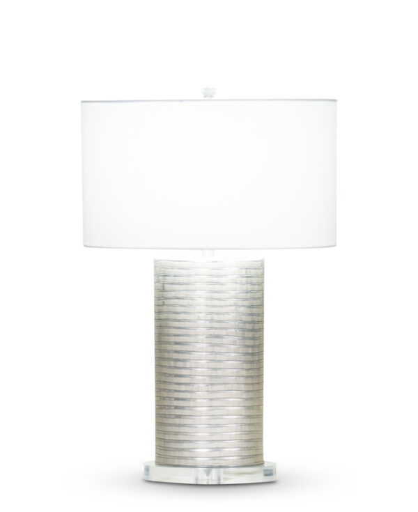 FlowDecor Aurora Table Lamp in mouth-blown glass with grey carved finish and acrylic base and off-white cotton oval shade (# 3373)