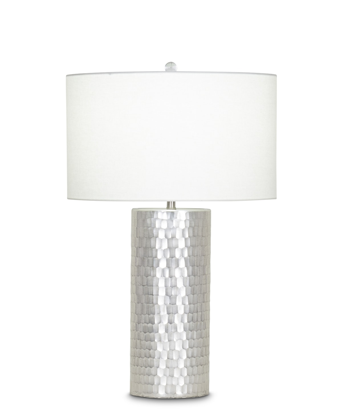 FlowDecor Avery Table Lamp in mouth-blown glass with champagne hand-etched finish and off-white linen drum shade (# 3956)