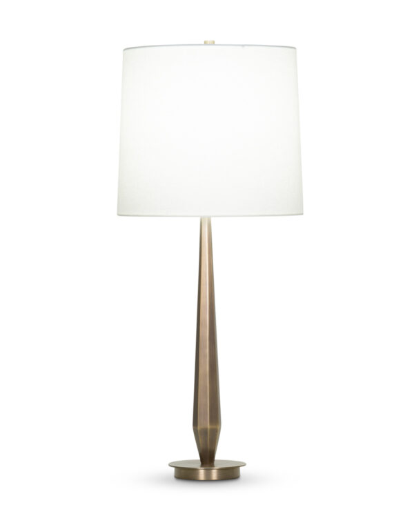 FlowDecor Baby Zoe Table Lamp in metal with antique brass finish and off-white linen tapered drum shade (# 4359)