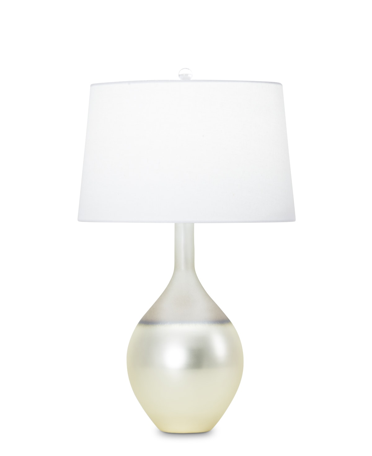 FlowDecor Barcelona Table Lamp in mouth-blown glass with pearlescent graduated finish and off-white cotton tapered drum shade (# 3370)