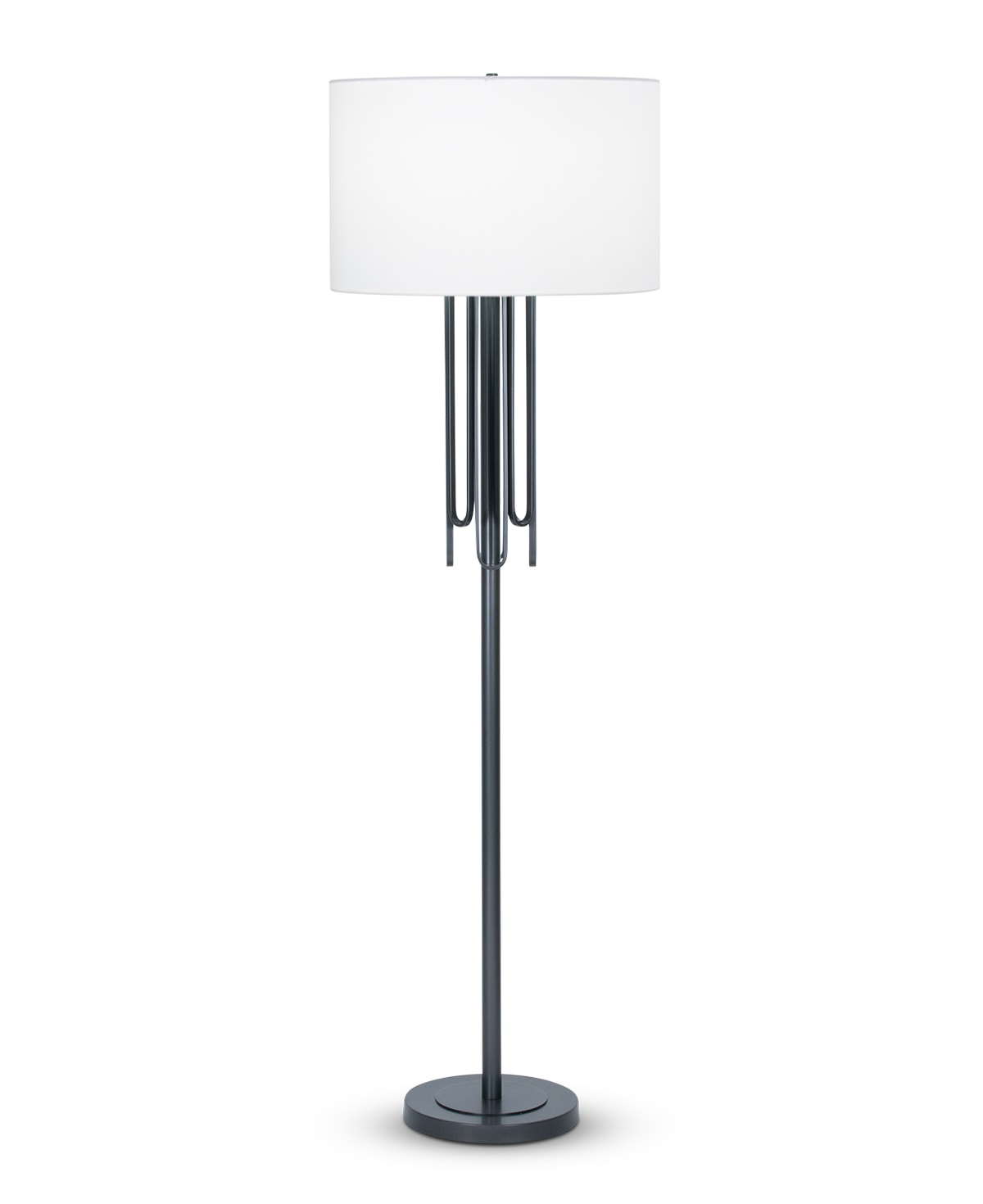 FlowDecor Barclay Floor Lamp in metal with gunmetal finish and off-white cotton drum shade (# 4489)