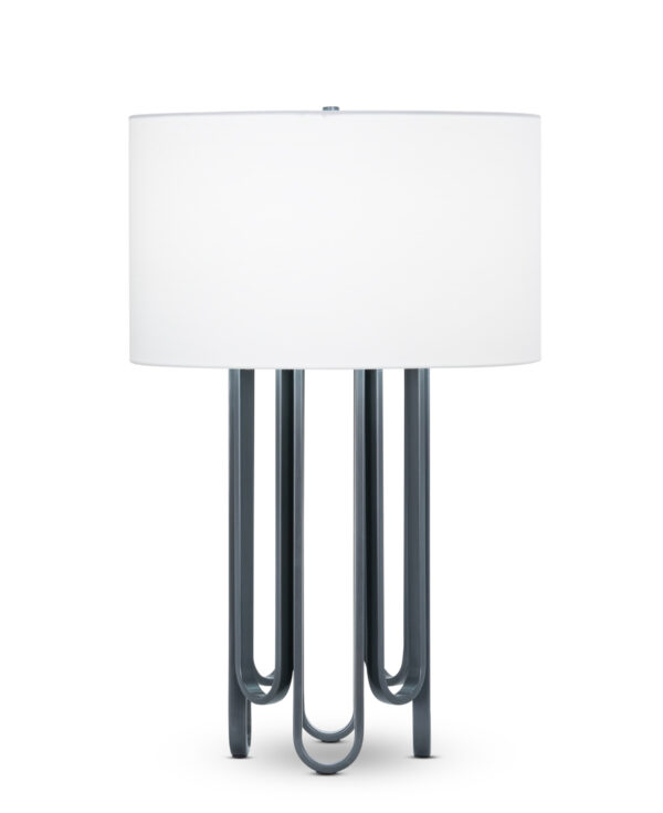 FlowDecor Barclay Table Lamp in metal with gunmetal finish and off-white cotton drum shade (# 4488)