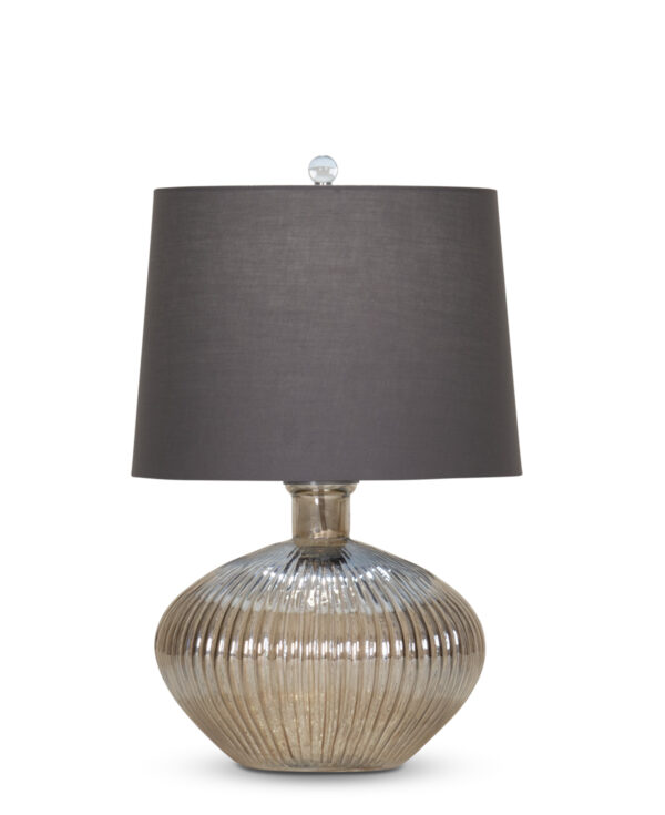 FlowDecor Belize Table Lamp in mouth-blown glass with taupe finish and grey cotton tapered drum shade (# 4400)