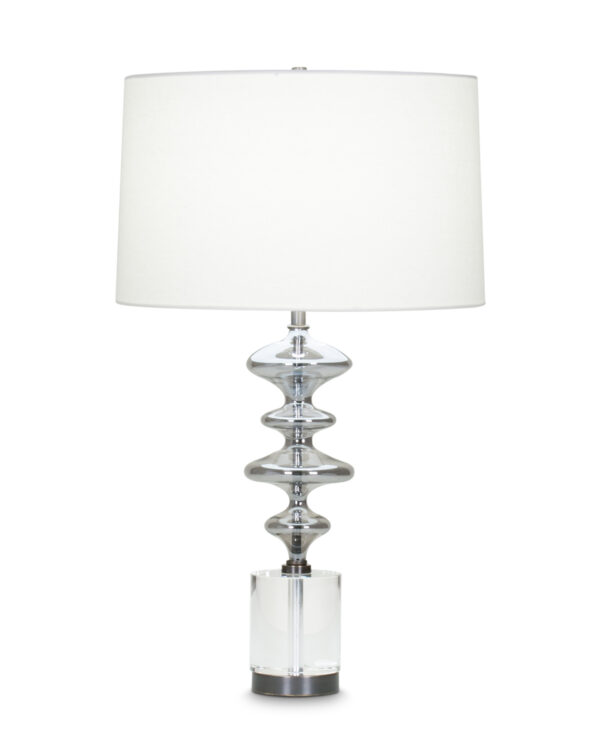 FlowDecor Blume Table Lamp in crystal and glass with grey finish and metal with bronze finish and off-white cotton tapered drum shade (# 4049)