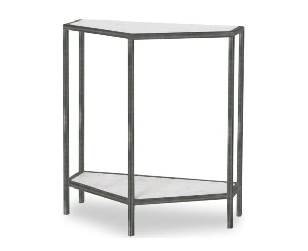 FlowDecor Bourdain Console Table in metal with antique black finish and white/grey marble (# 7012)
