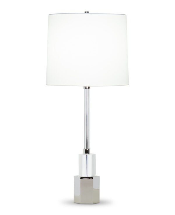 FlowDecor Breton Table Lamp in crystal and metal with polished nickel finish and off-white cotton tapered drum shade (# 4409)