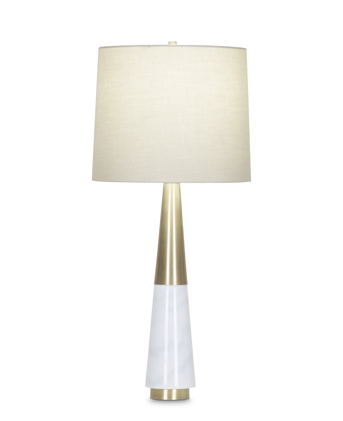 FlowDecor Brody Table Lamp in white marble and metal with antique brass finish and beige cotton tapered drum shade (# 3978)