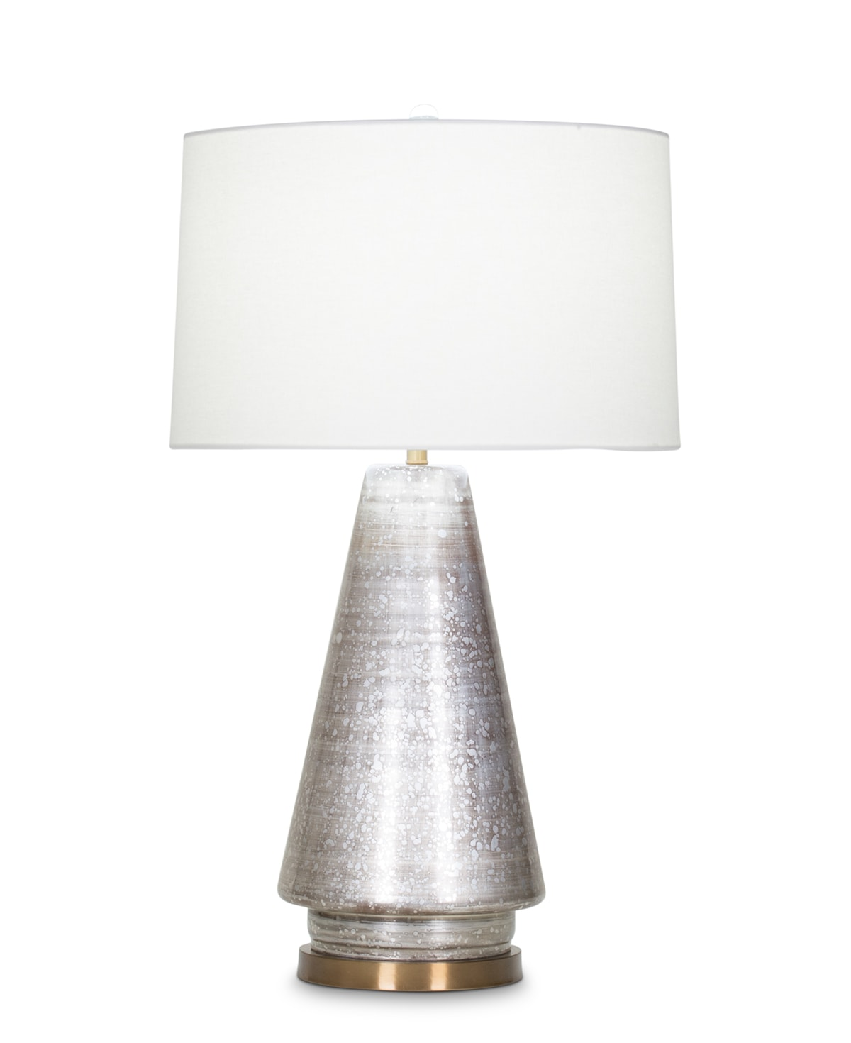FlowDecor Bronte Table Lamp in mouth-blown glass with dark champagne metallic finish and off-white linen tapered drum shade (# 4033)