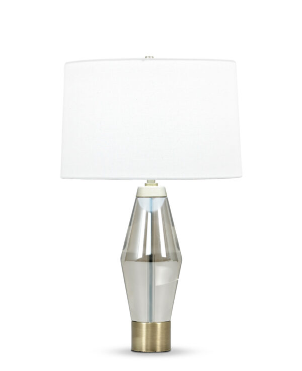 FlowDecor Brooks Table Lamp in crystal with smoked and metal with antique brass finish and off-white linen tapered drum shade (# 3818)