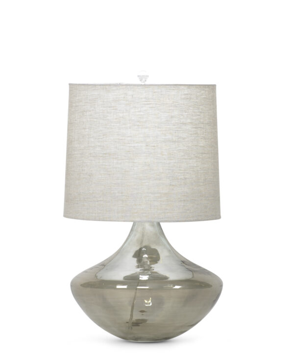 FlowDecor Cabernet Table Lamp in mouth-blown glass with taupe finish and beige linen tapered drum shade (# 3674)