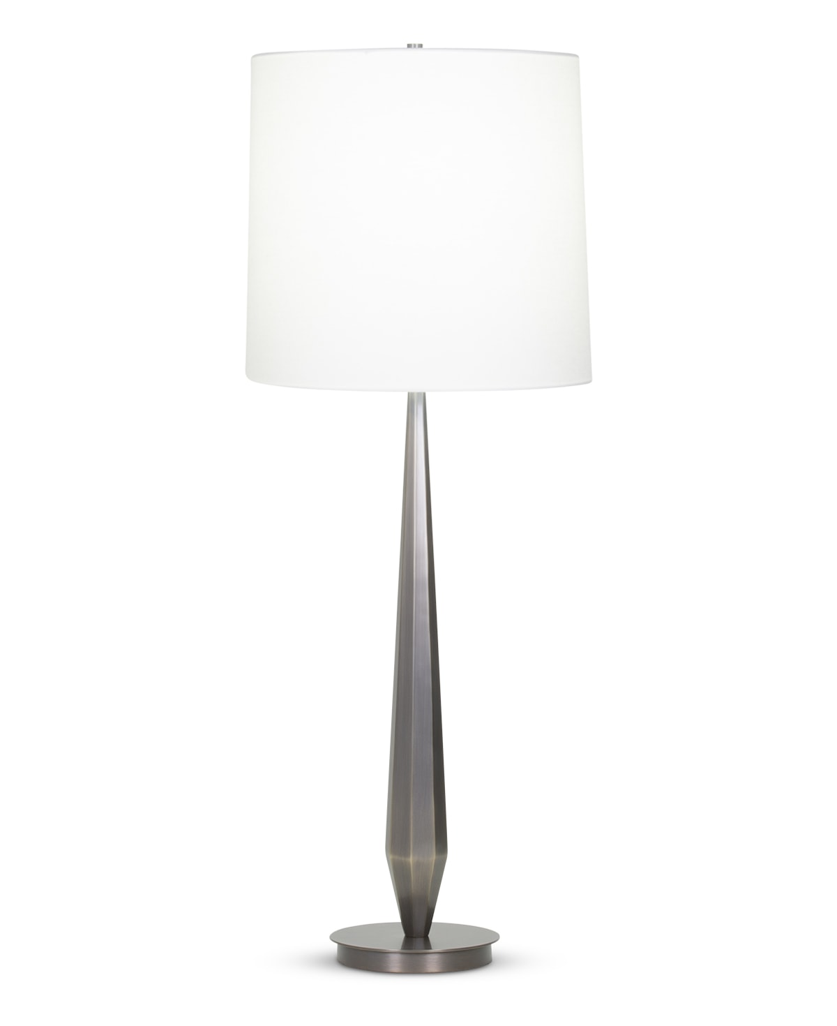 FlowDecor Caden Table Lamp in metal with bronze finish and off-white linen tapered drum shade (# 4091)