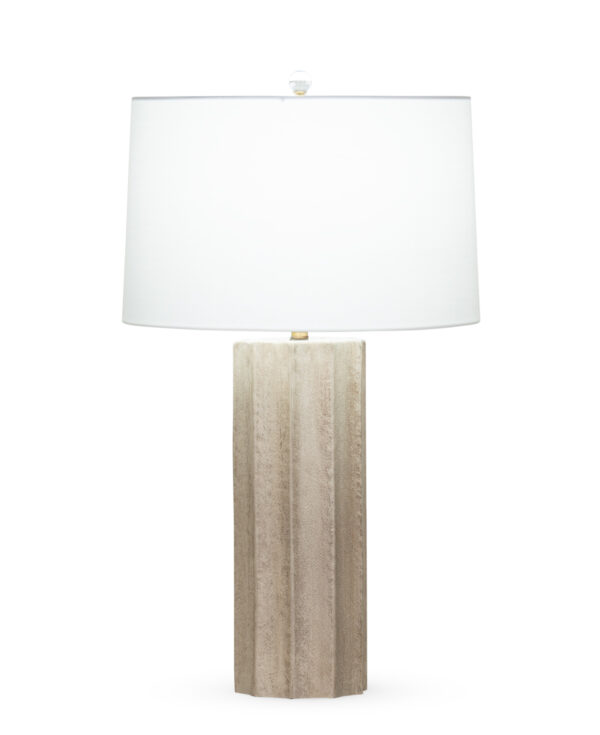 FlowDecor Capri Table Lamp in mouth-blown glass with sand finish and off-white cotton tapered drum shade (# 4403)