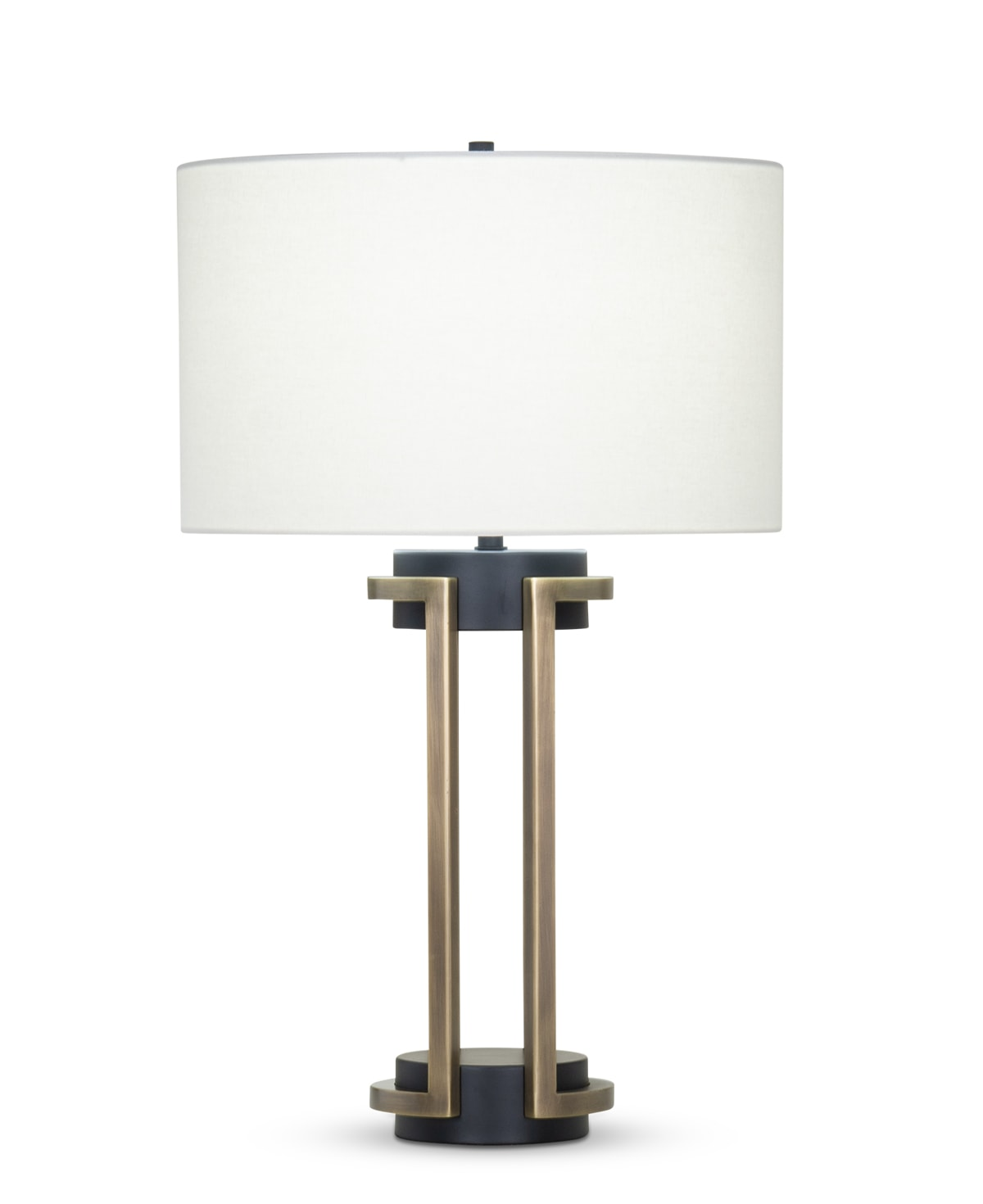 FlowDecor Carmel Table Lamp in metal with antique brass & black matte finishes and off-white linen drum shade (# 4410)