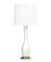 FlowDecor Carnation Table Lamp in mouth-blown glass with pearlescent cream finish and off-white linen tapered drum shade (# 3721)