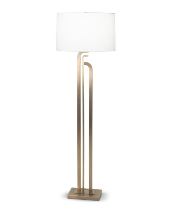 FlowDecor Caspian Floor Lamp in metal with antique brass finish and off-white linen oval shade (# 4088)