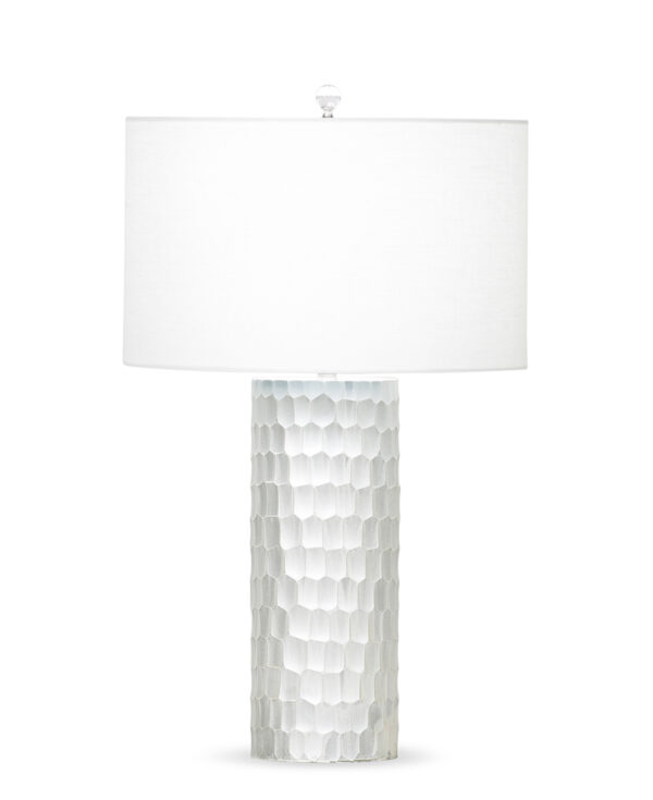 FlowDecor Cassis Table Lamp in mouth-blown glass with hand-etched with off-white finish and off-white linen drum shade (# 3671)