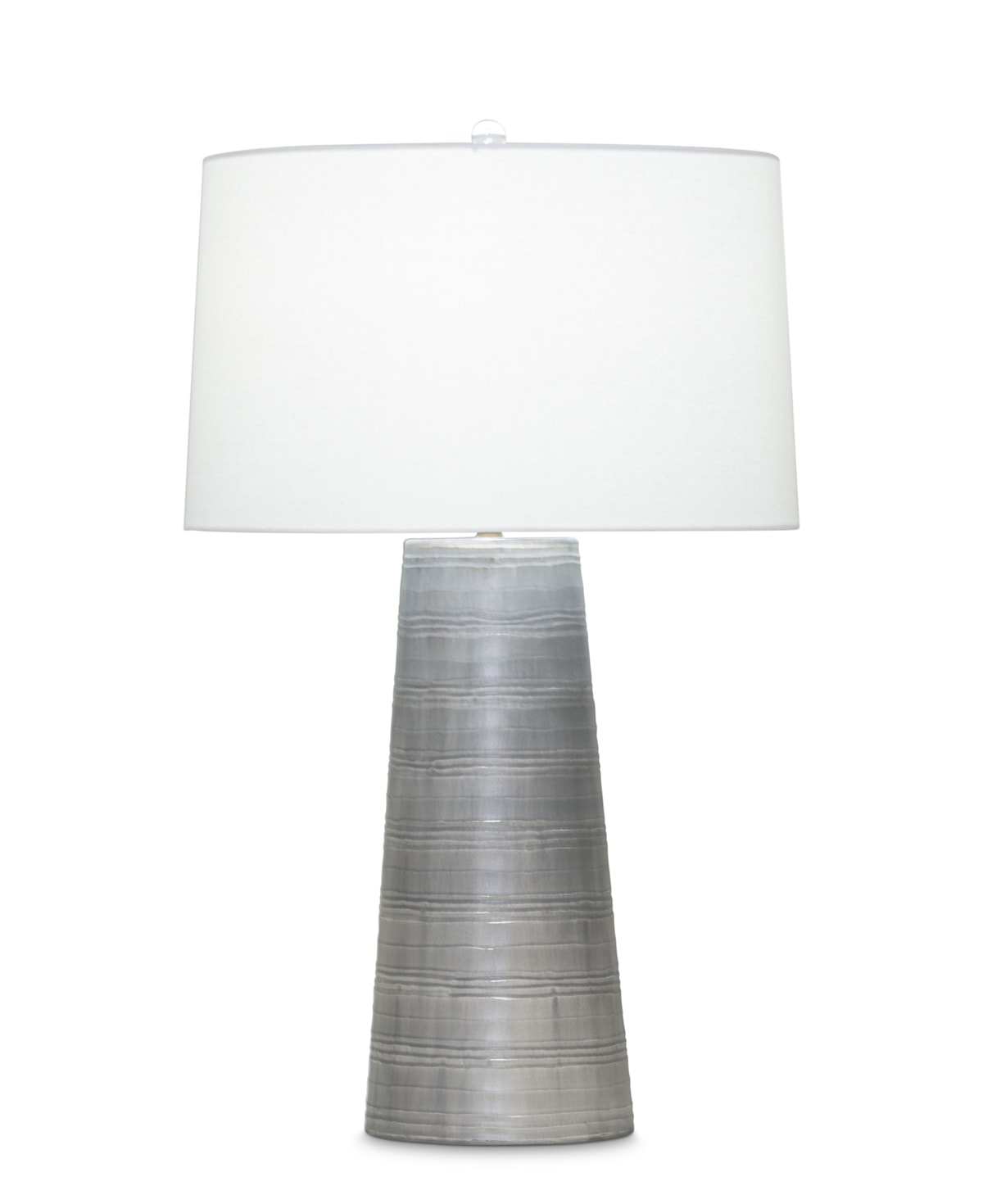 FlowDecor Charles Table Lamp in mouth-blown glass with grey carved finish and off-white linen tapered drum shade (# 3902)