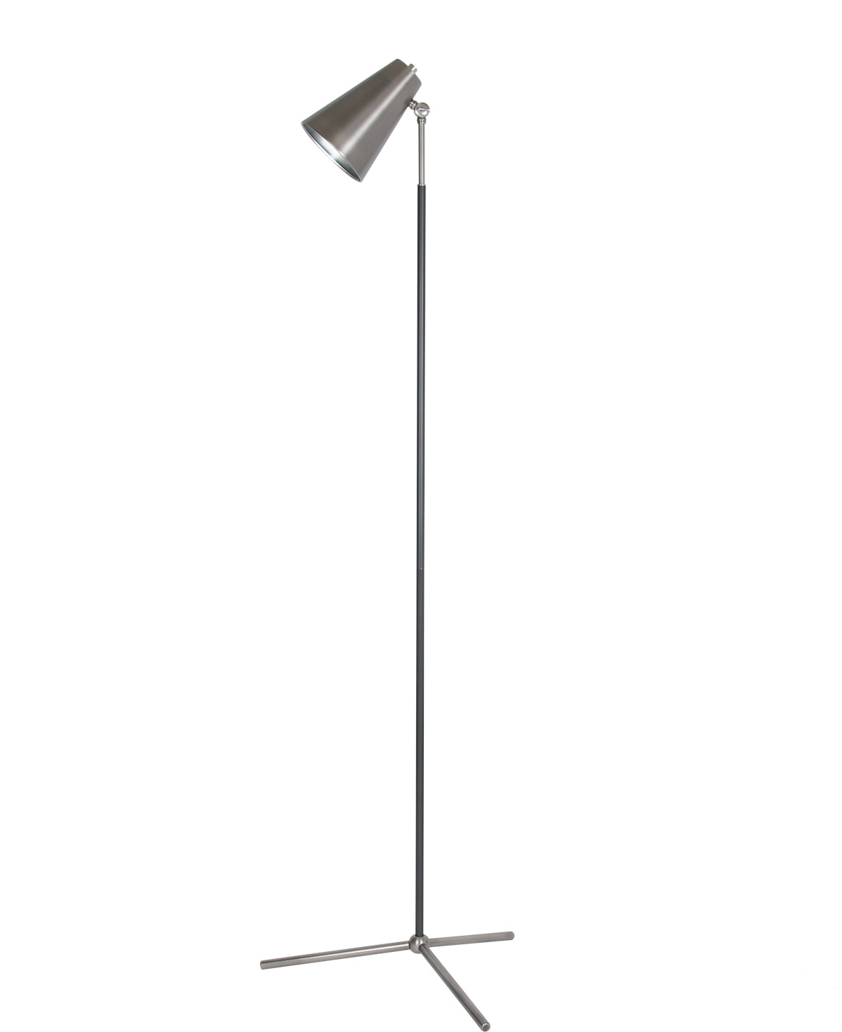 FlowDecor Chase Floor Lamp in metal with antique silver finish and metal with gunmetal finish and  shade (# 4451)