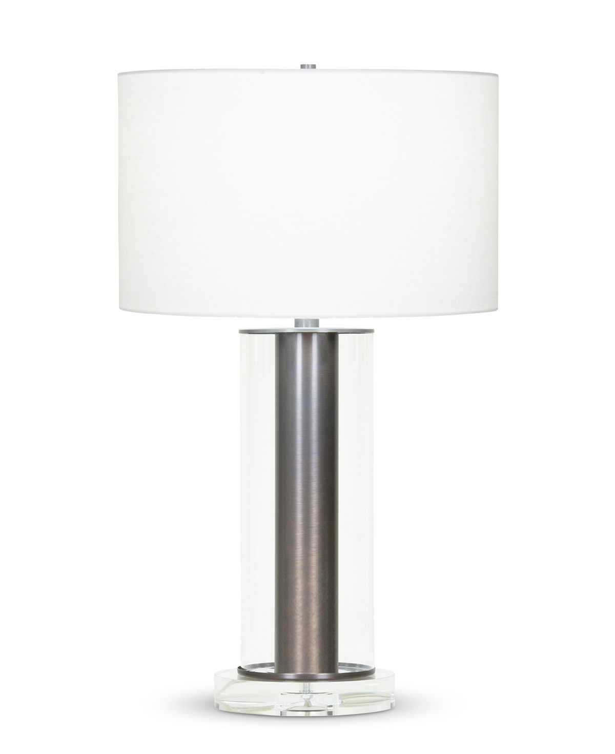 FlowDecor Chateau Table Lamp in metal with bronze finish and glass and crystal and off-white linen drum shade (# 4076)