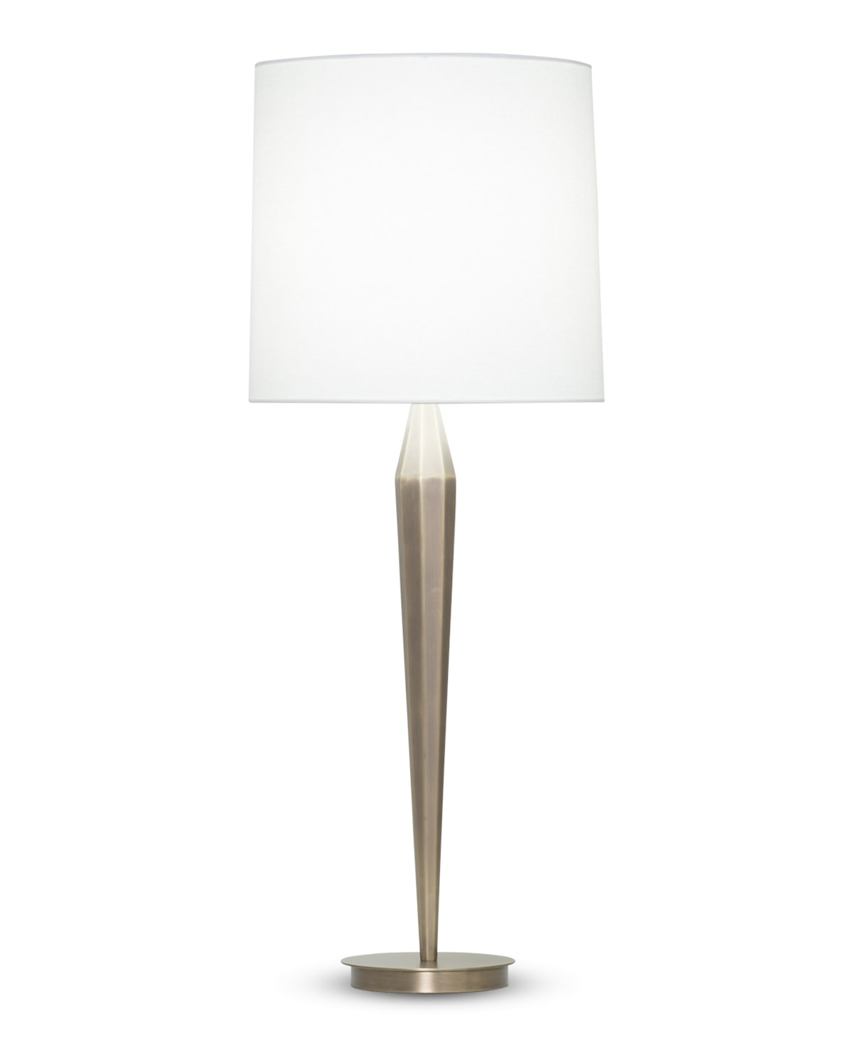 FlowDecor Chloe Table Lamp in metal with antique brass finish and off-white linen tapered drum shade (# 3920)