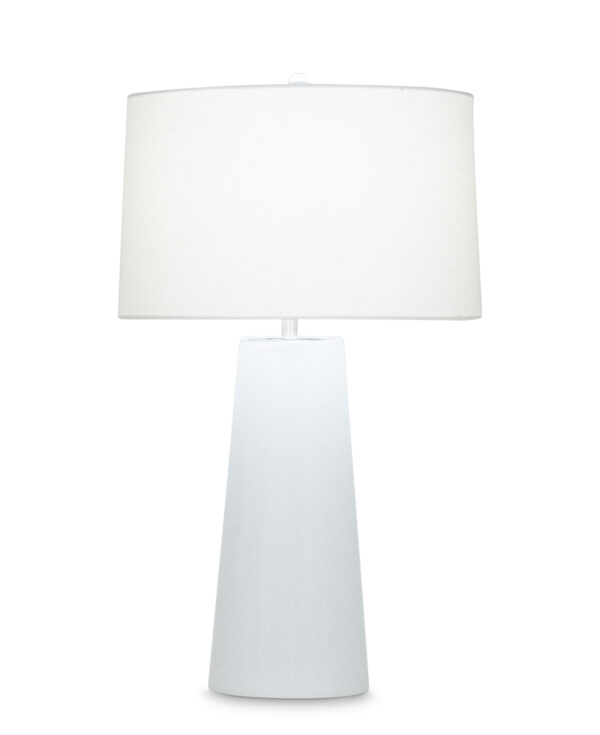 FlowDecor Christie Table Lamp in mouth-blown glass with hand-etched ice finish and off-white cotton tapered drum shade (# 4036)