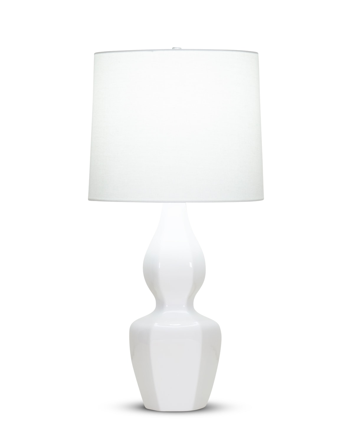 FlowDecor Claire Table Lamp in ceramic with off-white finish and off-white linen tapered drum shade (# 4352)