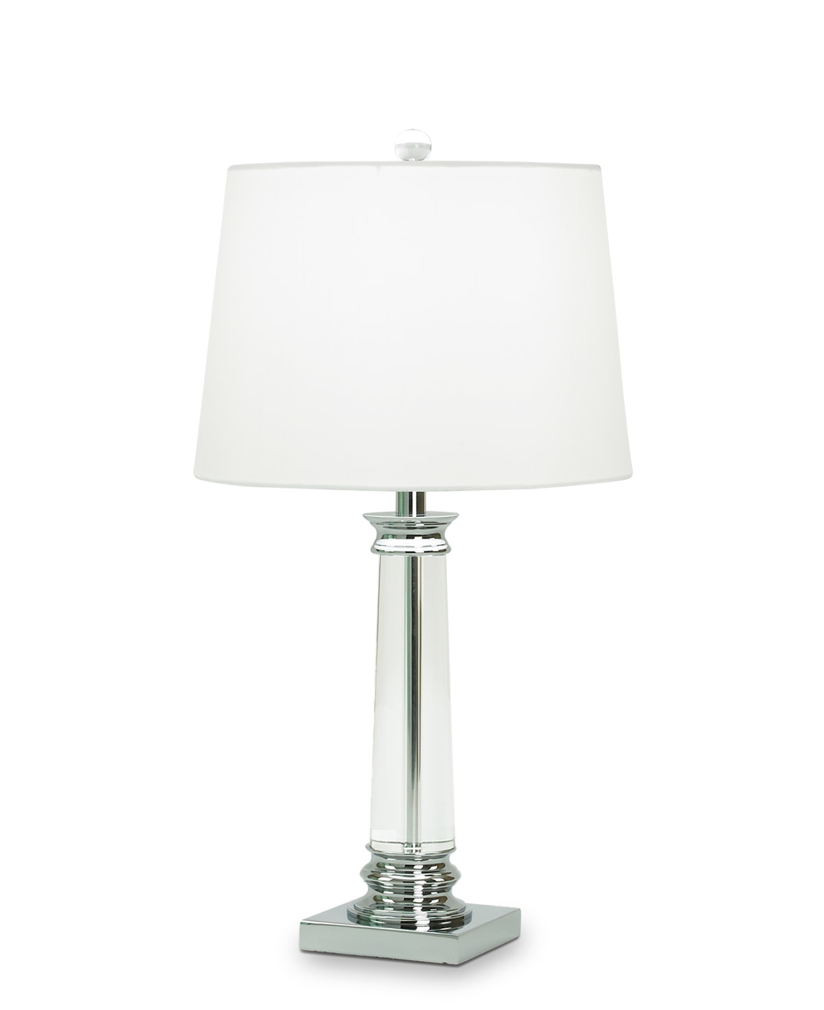 FlowDecor Coleford Table Lamp in crystal and metal with chrome finish and white linen tapered drum shade (# 3133)
