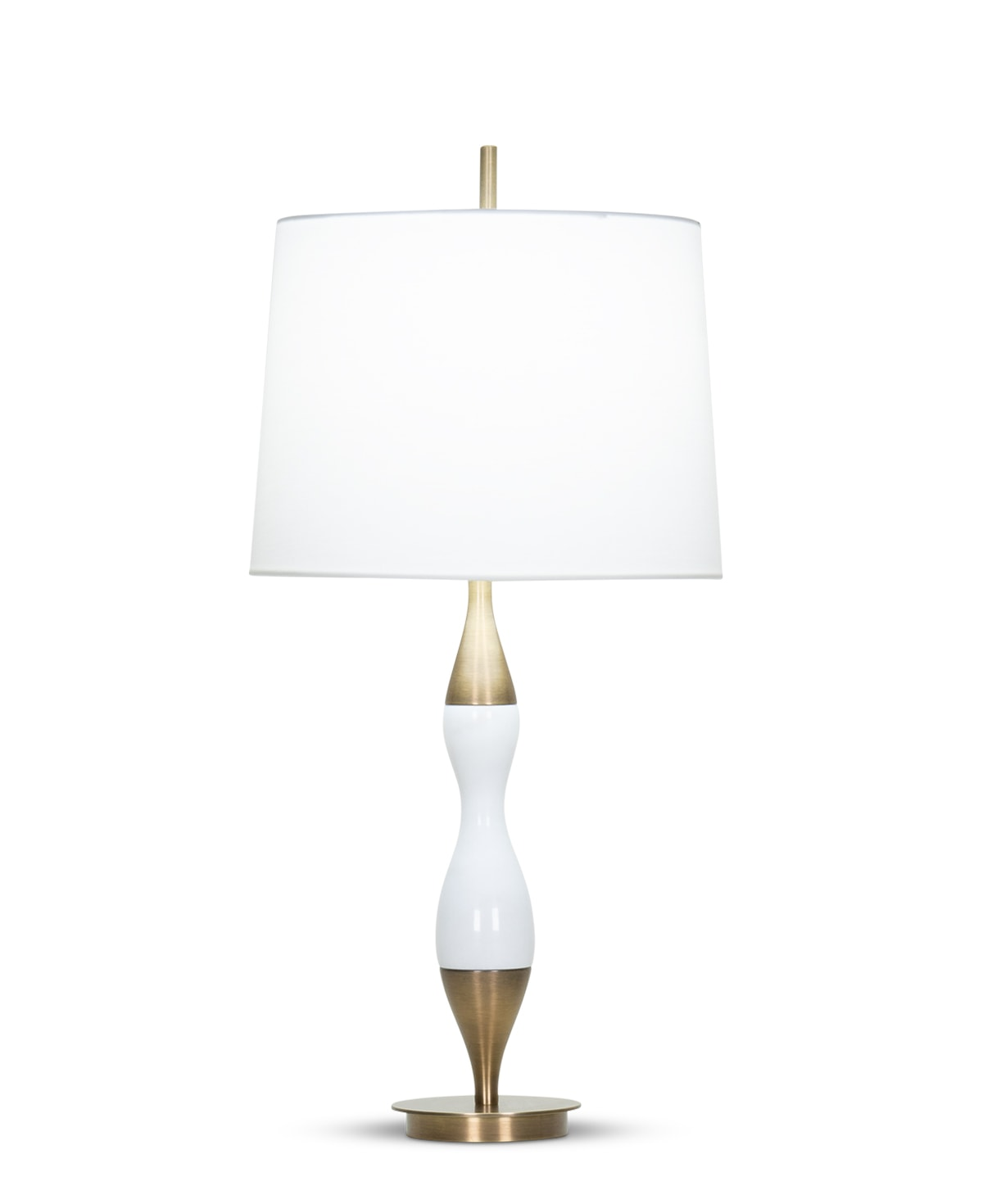FlowDecor Columbia Table Lamp in white marble and metal with antique brass finish and off-white cotton tapered drum shade (# 4365)