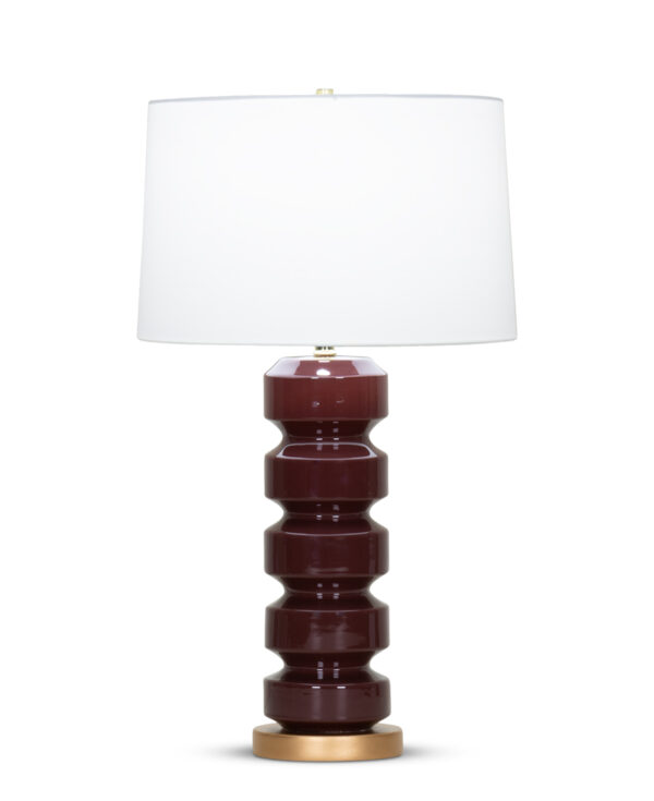 FlowDecor Cora Table Lamp in ceramic with burgundy finish and resin base with gold finish and off-white cotton tapered drum shade (# 4350)