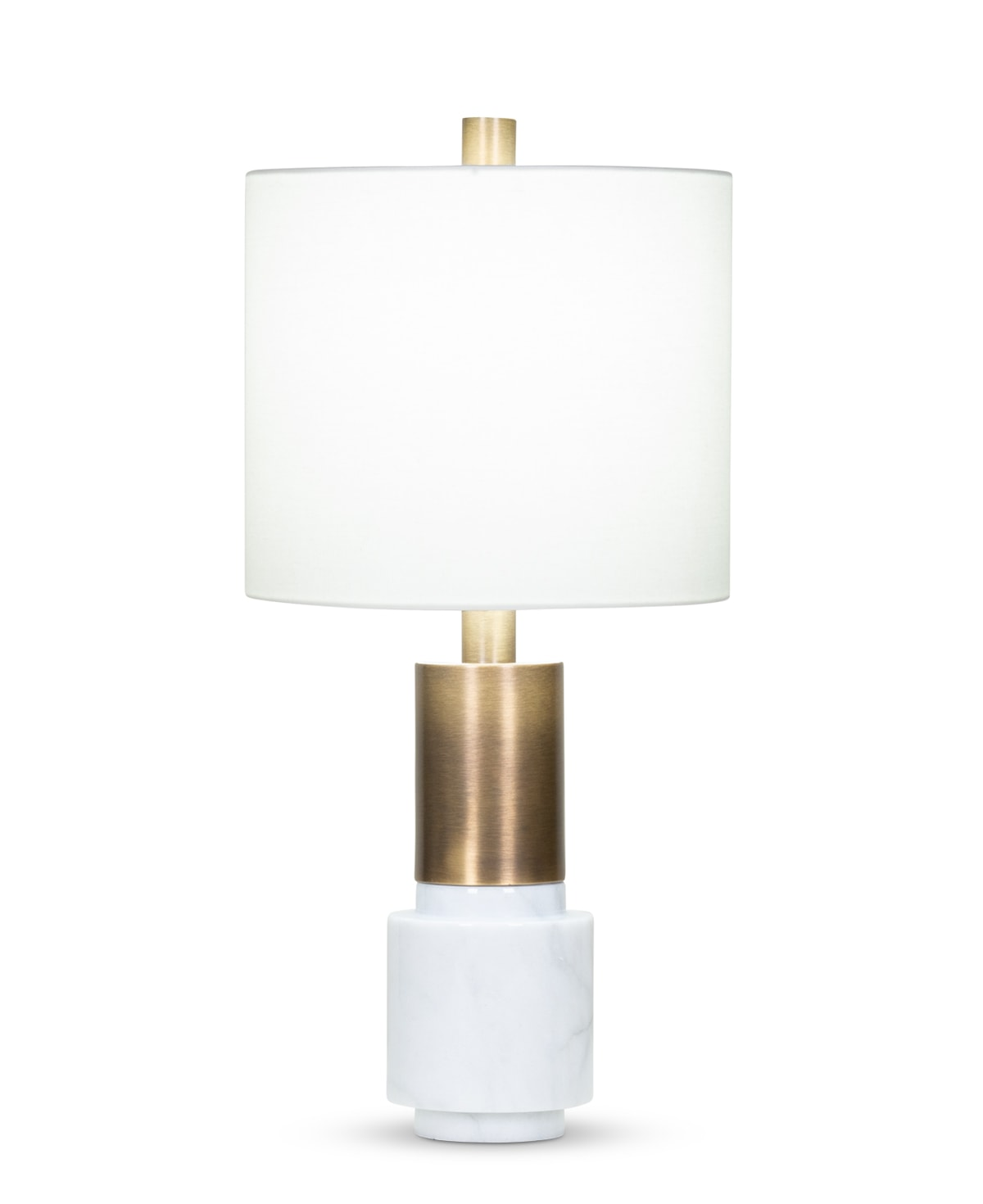 FlowDecor Cordelia Table Lamp in white marble and metal with antique brass finish and off-white linen drum shade (# 4016)