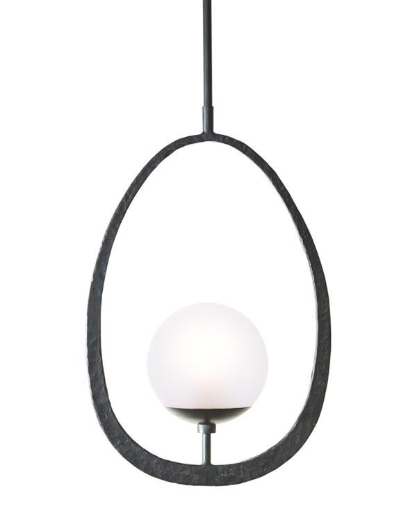 FlowDecor Corfu Pendant in metal with black matte hammered finish (# 6043)