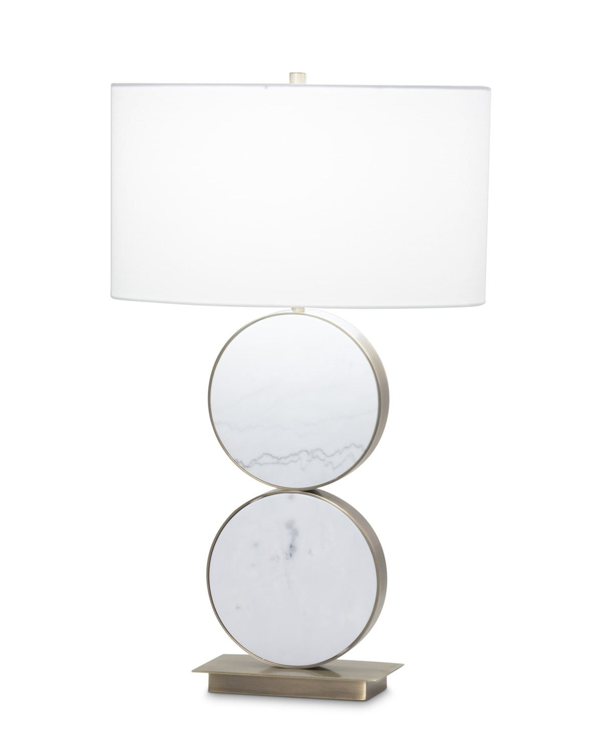 FlowDecor Daniels Table Lamp in white marble and metal with antique brass finish and off-white cotton oval shade (# 3881)