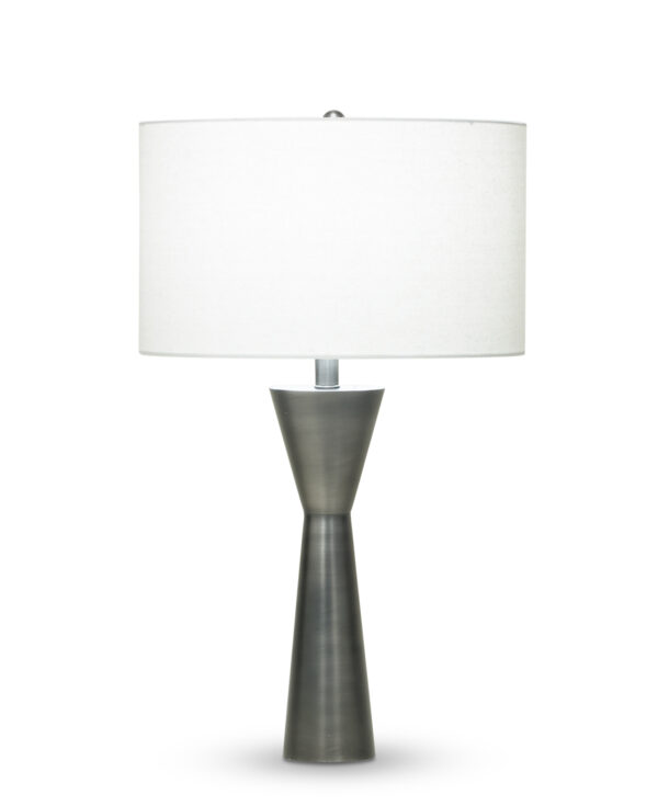 FlowDecor Dark Essex Table Lamp in metal with antique black finish and off-white linen drum shade (# 3801)