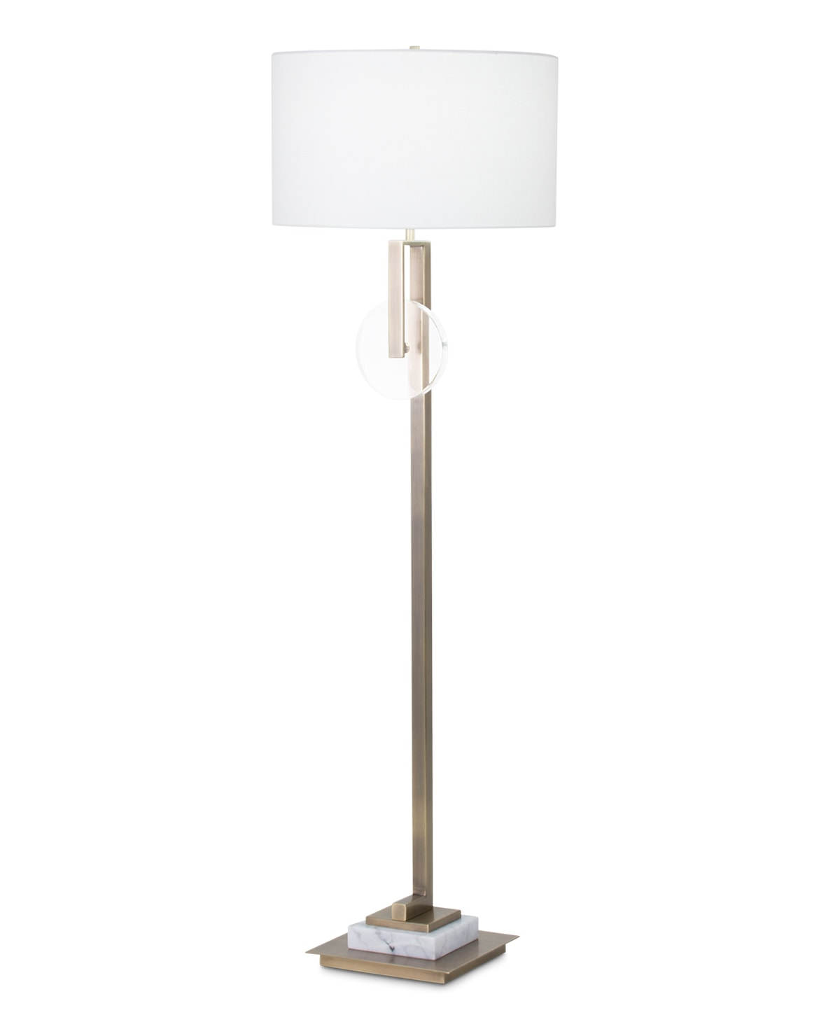FlowDecor Davis Floor Lamp in metal with antique brass finish and crystal and white marble and off-white linen drum shade (# 3981)