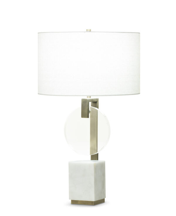 FlowDecor Davis Table Lamp in white marble and metal with antique brass finish and crystal and off-white linen drum shade (# 3758)
