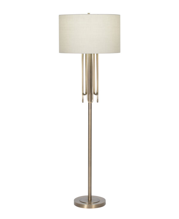 FlowDecor Deanna Floor Lamp in metal with antique brass finish and beige cotton drum shade (# 4486)